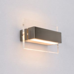 New York 2 x 3 Watt LED Internal Rectangle Shaped Up and Down Wall Light in Satin Nickel