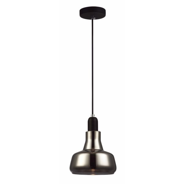 Penola 1 Light Pendant Light in Black with Smoked Glass