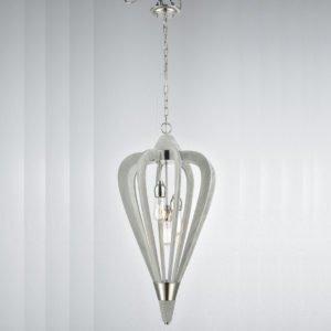 Senorita Medium 3 Light Pendant Light in Polished Nickel and Winter Moss Wood