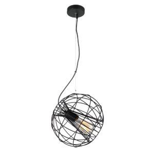 Sentinel 1 Light Pendant Light in Matt Black Round Cage
