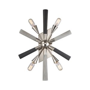 Sputnik 4 Light Internal Wall Light in Polished Nickel with Dark and Light Grey Washed Wood