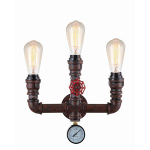 Steam 3 Light Internal Wall Light in Aged Iron including Carbon Filament Globes