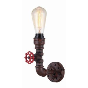 Steam 1 Light Internal Wall Light in Aged Iron including Carbon Filament Globes