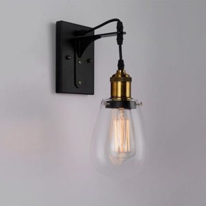 Strung Internal Wall Light in Black and Antique Brass with Clear Pear Shaped Glass