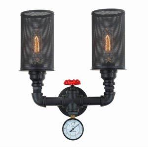 Veneto 2 Light Internal Wall Light in Matt Black including Carbon Filament Globes