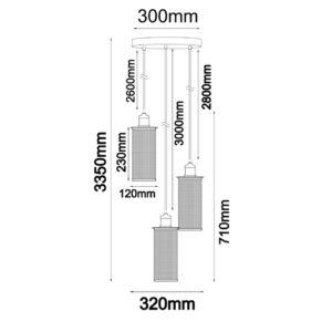 VENETO1X3BK Pendant Light Dimensions