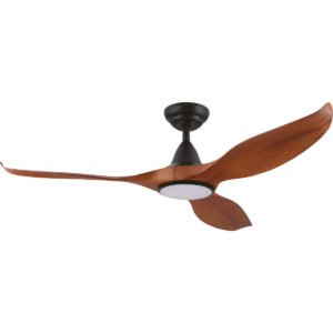 """Teak / Black Eglo Noosa 52"""" 3 Blade DC Indoor/Outdoor Ceiling Fan with 18W CCT Dimmable LED Light -204116"""