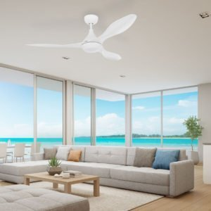 """Matt White Eglo Nevis 2 52"""" DC 18W CCT LED ABS Indoor/Outdoor Ceiling Fan with Remote Control"""