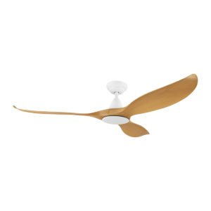 """Bamboo / White Eglo Noosa 60"""" 3 Blade DC Indoor/Outdoor Ceiling Fan with Remote Control"""