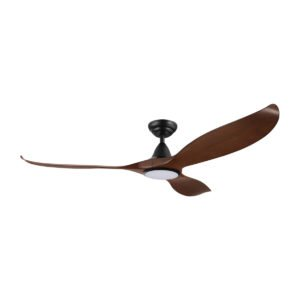 """Aged Elm / Black Eglo Noosa 60"""" 3 Blade DC Indoor/Outdoor Ceiling Fan with 18W CCT Dimmable LED Light"""