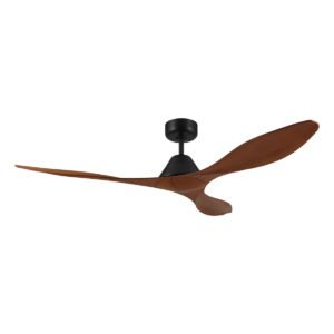 """Teak / Black Eglo Nevis 52"""" (1300mm) DC 3 Blade ABS Indoor/Outdoor Ceiling Fan with Remote Control"""