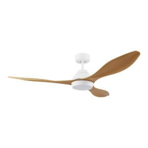 """Bamboo / White Eglo Nevis 52"""" DC 18W LED ABS Indoor/Outdoor Ceiling Fan with Remote Control"""