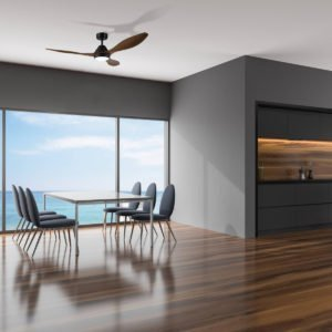 """Teak / Black Eglo Nevis 52"""" DC 18W LED ABS Indoor/Outdoor Ceiling Fan with Remote Control"""