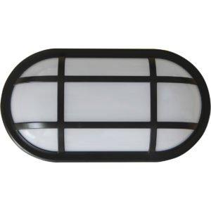 Bulk Oval 20 watt Cool White LED Bunker Light in Black with Optional Cage