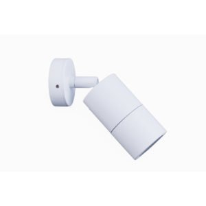 Single Adjustable GU10 Exterior Surface Mounted Wall Pillar Spot Light in White