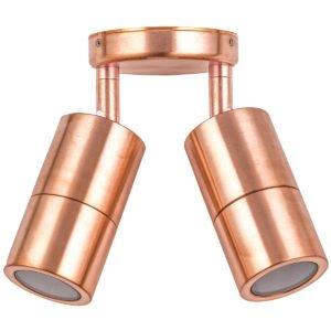 Double Adjustable GU10 Exterior Surface Mounted Wall Pillar Spot Light in Copper