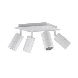 Four Adjustable GU10 Exterior Head Square Light in White