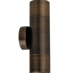 Up and Down MR16 Exterior Surface Mounted Wall Pillar Spot Light in Antique Brass