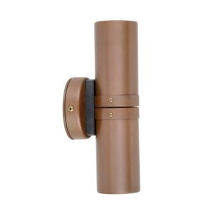 Up and Down GU10 Exterior Surface Mounted Wall Pillar Spot Light in Aged Copper