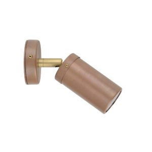 Single Adjustable MR16 Exterior Surface Mounted Wall Pillar Spot Light in Aged Copper