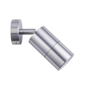 Single Adjustable MR16 Exterior Surface Mounted Wall Pillar Spot Light in Shiny Silver