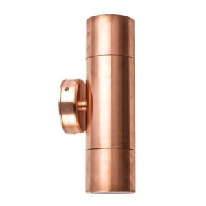 Up and Down MR16 Exterior Surface Mounted Wall Pillar Spot Light in Copper