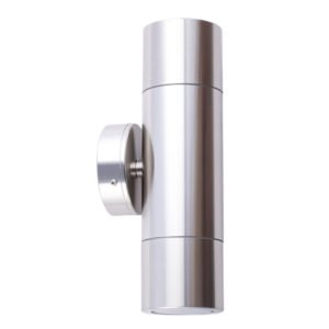 Up and Down MR16 Exterior Surface Mounted Wall Pillar Spot Light in Shiny Silver