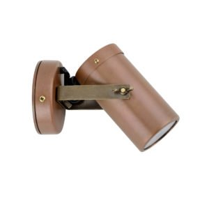 Single Adjustable GU10 Exterior Surface Mounted Spot Light in Aged Copper with Anti Glare Honeycomb Louver