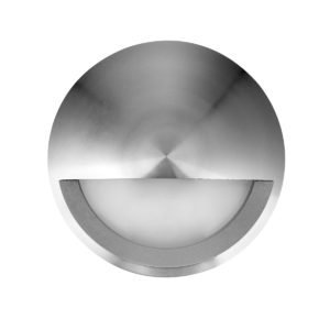 Ste 240V Exterior LED 6 Watt Surface Mount Small Round Eyelid Step Light in Titanium Aluminium
