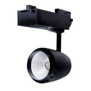 4 Wire 3 Circuit COB LED 30 Watt Track Head in Black in Warm White