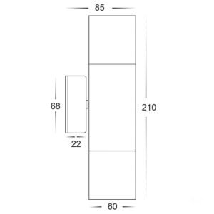 12v DC Tivah Up & Down Wall Pillar Light 316 Stainless Steel