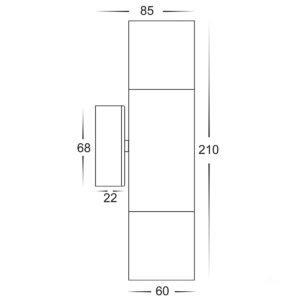 12v DC Tivah Up & Down Wall Pillar Light Black