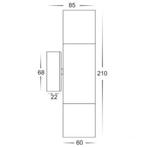 240v Tivah Up & Down Wall Pillar Light Silver
