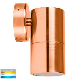 12v DC Tivah Single Fixed Wall Pillar Light Solid Copper