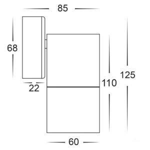 12v DC Tivah Single Fixed Wall Pillar Light Black