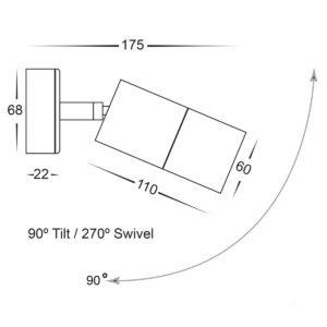 12v DC Tivah Single Adjustable Wall Pillar Light Silver