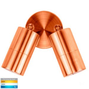 240v Tivah Double Adjustable Wall Pillar Light Solid Copper