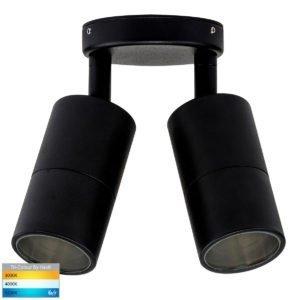 12v DC Tivah Double Adjustable Wall Pillar Light Black