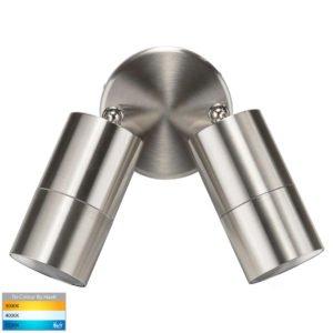 240v Fortis Double Adjustable Wall Pillar Light Stainless Steel