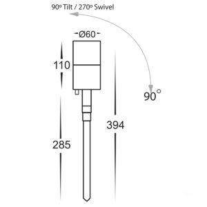 12v DC Fortis Single Adjustable Spike Spotlight - 285mm Spike Stainless Steel