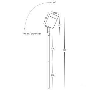 12v DC Pointe Single Adjustable Spike Spotlight - 476mm Spike Black