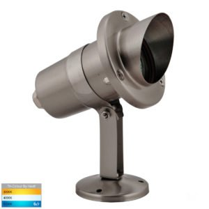 12v DC Kap Garden Spike or Surface Mounted Spotlight with Hood Stainless Steel
