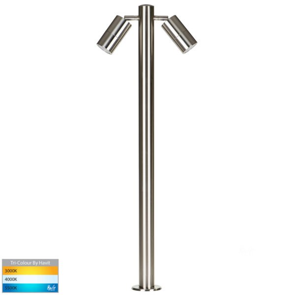 12v DC Tivah Double Adjustable 316 Stainless Steel Bollard - 900mm