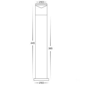 12v DC MR16 Highlite Black Bollard Light - 445mm
