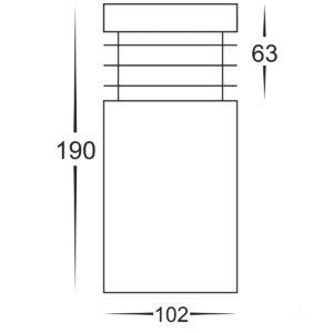 12v DC Mini Mini Bollard Light Opal Diffuser Black - 190mm