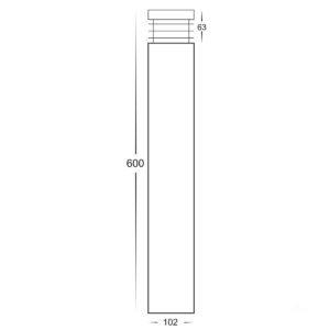 240v Maxi 600 Maxi Bollard Light Opal Diffuser Black - 600mm