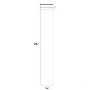 12v DC Maxi Louvre Maxi Louvered Bollard Light Black - 600mm