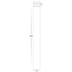 12v DC Maxi Louvre Maxi Louvered Bollard Light 316 Stainless Steel - 900mm