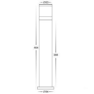 240v 12w Tri-Colour LED Black Highlite Bollard - 464mm