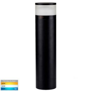 240v 24w Tri-Colour LED Black Highlite Bollard - 600mm